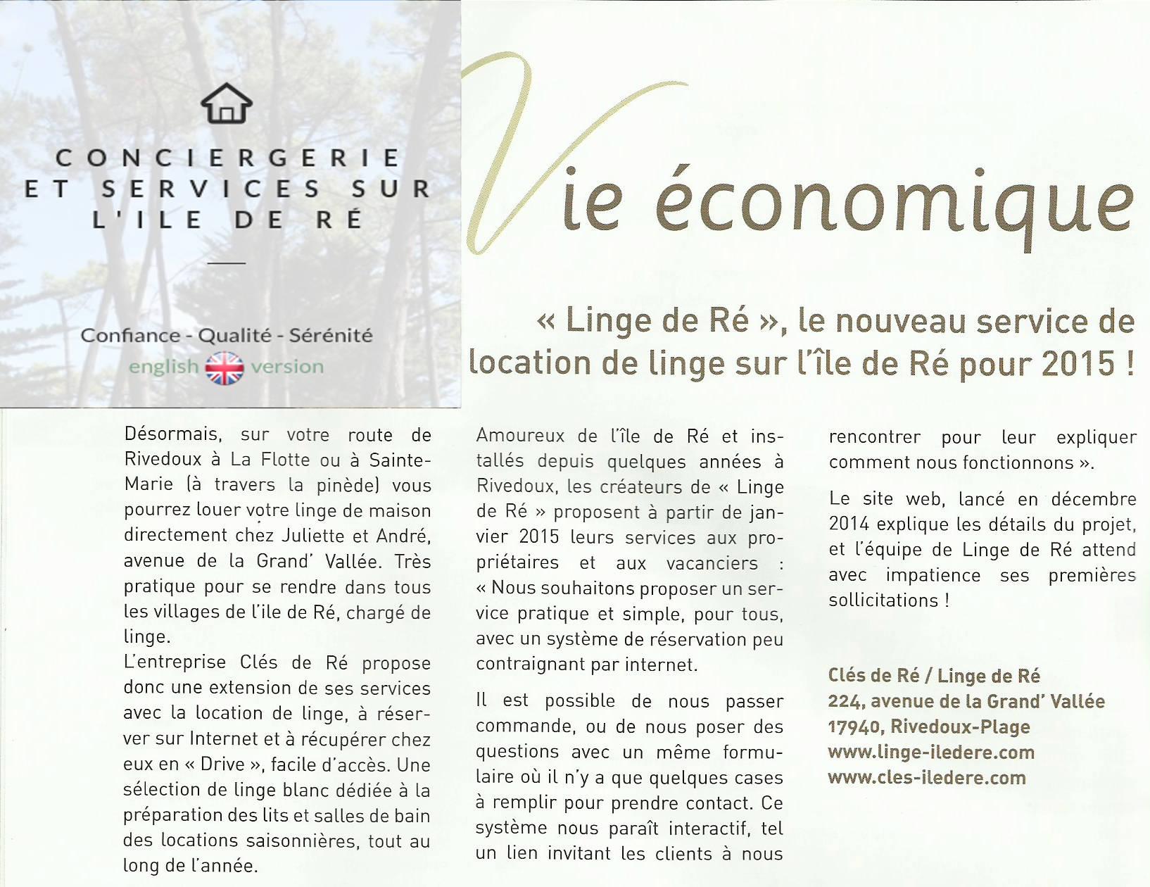 Rivedoux Pages parle de nos services sur l'ile de Ré